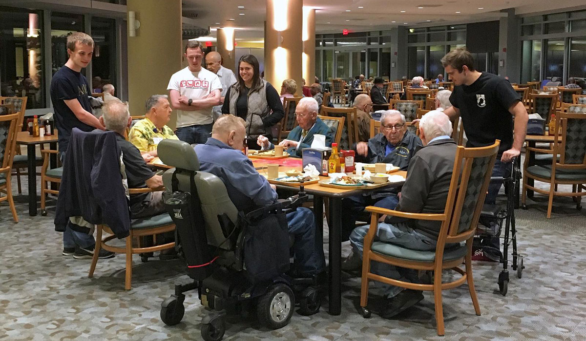 Students volunteering at Armed Forces Retirement Home